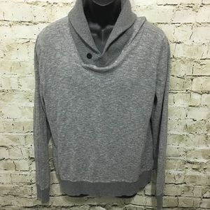 American Eagle Gray Shawl Collar Athletic Sweater